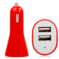 2.1A/1A Dual USB Port Car Charger for Tablet PC, Cell Phone or Other Digital Products (Red)