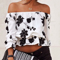 White Flower Printed Strapless Blouse