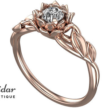 Moissanite Engagement Ring,Unique Flower Ring,Solitaire Engagement Ring,Rose Gold Ring,Lotus,swirl,Delicate,Leaves Engagement Ring,Fine Ring