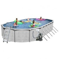 Splash Pools Above Ground Oval Pool Package, 33-Feet by 18-Feet by 52-Inch