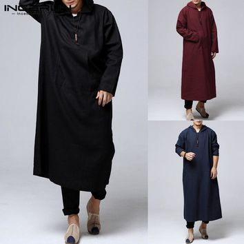 INCERUN Men Hoodies Hiphop Robe Arab Kaftan Long Sleeve Cotton Full Length Ethnic Islamic Clothes Hombre Muslim Costume Gown