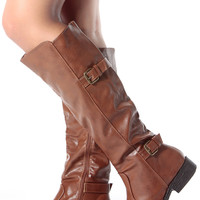 Chestnut Faux Leather Knee High Strapped Riding Boots
