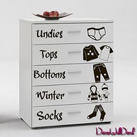 Names Clothes Wall Decal Decor Decals Sticker Art Nursery Inscriptions Chest of Drawers Cupboard Baby Clothes Sock Shirt Pants Set of Labels M1607