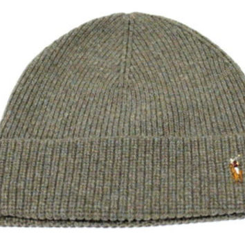 Polo Ralph Lauren Adult's Merino Wool Olive Green Beanie Hat One Size