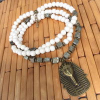 Egyptian 108 Bead Mala Necklace | Pyrite & White Wood Pharoah Ankh Mala | Meditation Yoga Prayer Beads | Horus, King Tut, Cleopatra, Egypt