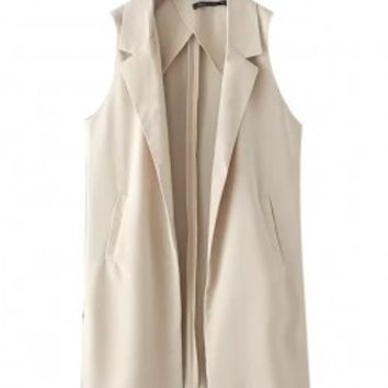 Solid Color Kick Pleat Vest