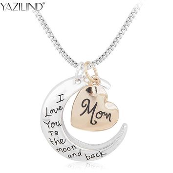 YAZILIND I Love You To The Moon And Back Silver Necklace Moon Heart Choker Pendant Girls and Boys for Mother's day Gift