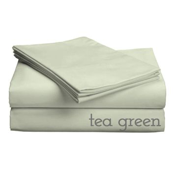 "Classic Collection-300ct Combed Cotton Percale Weave Deep Pocket Upto 18"" Pocket Sheet Sets Split Cal King Tea Green"