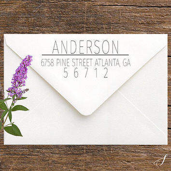 Self-Inking Return Address Stamp - Modern Address Stamp with Family Name - Personalized Gift for Women, Moms - Etsy Modern Address Stamp
