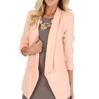 Drop Collar Blazer Peach
