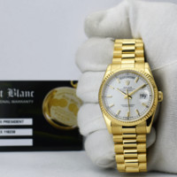 ROLEX 36mm 18kt Gold Day Date President White Index FAT Buckle 118238 SANT BLANC