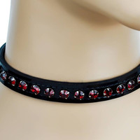 Red Rhinestone on Black Patent Leather PVC Choker Collar Burlesque