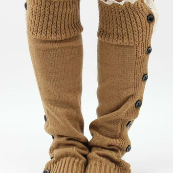 Retro Lace And Button Decorated Knitted Leg Warmers