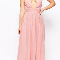 True Decadence Petite | True Decadence Petite Plunge Front Open Back Maxi Dress at ASOS