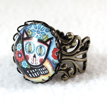 Day of the Dead Cat Ring, Antique Bronze Mexican Style Art Ring, Filigree Cocktail Ring Jewelry, FREE SHIPPING Black Friday Cyber Monday