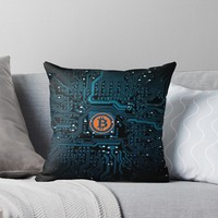 'BITCOIN 3' Throw Pillow by IMPACTEES