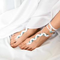 White Beaded Barefoot Sandals with Turquoise  by ElvishThings