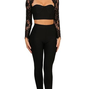Party Crasher Black Lace Long Sleeve Mock Neck Cut Out Crop Top Skinny Pant Bandage Bodycon Jumpsuit Two Piece Set