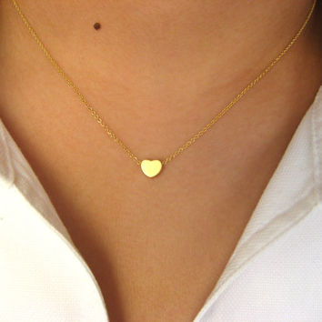 Little Dainty Necklace 14K gold filled with Little Heart 14K matt gold plated - heart necklace - minimalist