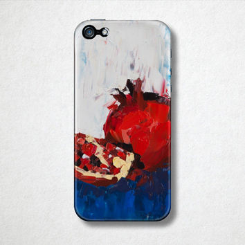 Pomegranate Art, Fruit Phone Case, Red iPhone 4 Case, Blue iPhone 5 Case,Samsung Galaxy, Food Phone Case, Artistic Phone Case,Back to School