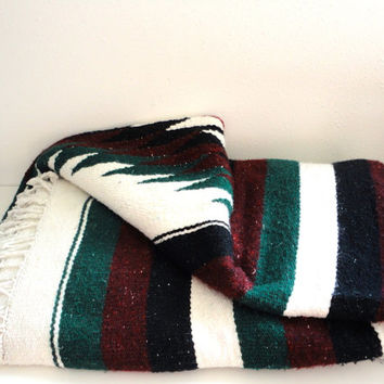 Vintage Mexican Blanket // Southwestern Wall Hanging Dark Green, White, Burgundy and Black