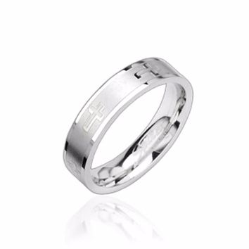 Cross Engrave 316L Stainless Steel Ring