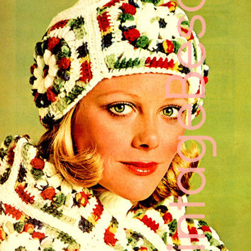 INSTANT DOWNLOAD Pdf Scarf & Hat Cap 2 Retro Granny Square 1970s Vintage CROCHET Patterns Vintage Beso - 1 step above easy crochet pattern