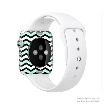 The Teal & Black Wide Chevron Pattern Full-Body Skin Set for the Apple Watch