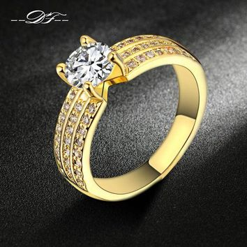ac spbest Fashion Gold-Color Bijoux Wedding Women Rings Cubic Zirconia Ring jewelry Engagement Gift DFR564