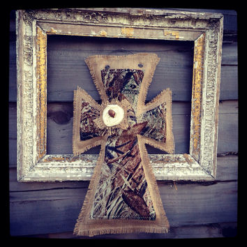 Medium camo burlap cross