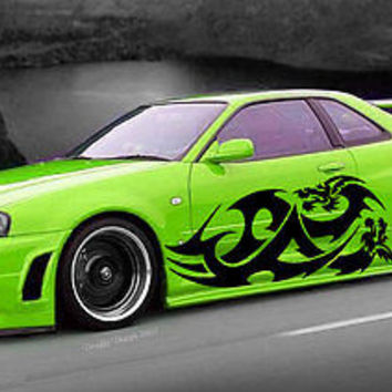 Japanese Dragon Tribal Tattoo Street Design Racing Drift Tuned Car vinyl tr039