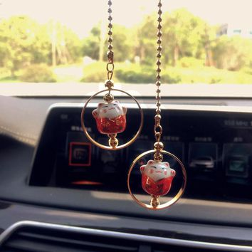 Car Interior Hanging Decoration Lucky Cats Japan Ornaments Car Rearview mirror Cute Pendant Gifts Auto Fashion Accessories