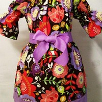 Girls Purple Floral Peasant Dress, USA,  #11