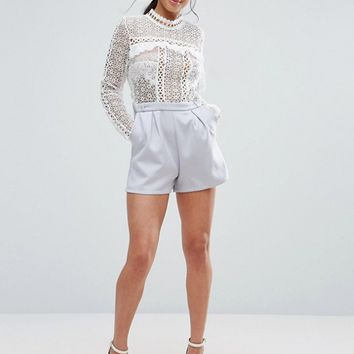 True Decadence Petite Lace Top Romper With Eyelet Detail at asos.com