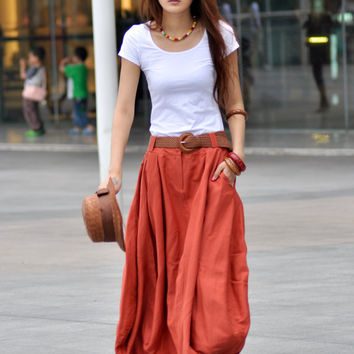 Maxi Skirt Lagenlook Sexy Bud Long Skirt in Dark Orange - NC023