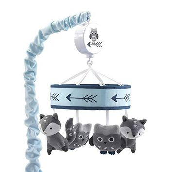 Lambs & Ivy Stay Wild Blue/Gray Fox & Owl  Baby Crib Musical Mobile