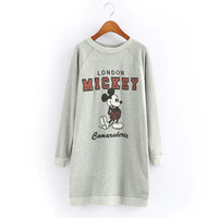 Mickey And Letter Print Long-Sleeve Shirt Dress
