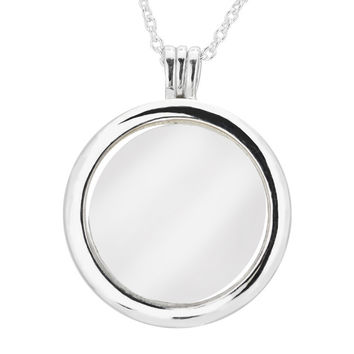 Compatible With European Jewelry Large Floating Locket Silver Necklace Original 100% 925 Sterling Silver Jewelry DIY 08N028