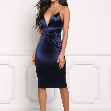 Navy Satin Cross Strap Plunge Bodycon Dress