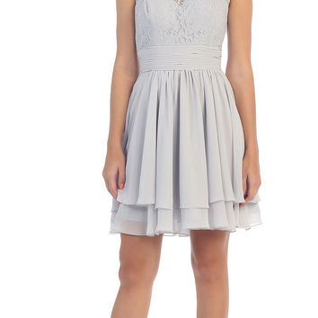 Starbox USA S6146 Sleeveless Bateau Neck Lace Bodice Short Bridesmaids Dress Silver