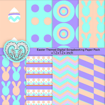 Purple and Orange Easter Digital Paper Pack - Personal Scrapbooking Paper Goods - a4