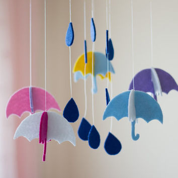 Gender Neutral Mobile, Cloud Baby Mobile, Colorful Baby Mobile, Minimalist Baby Mobile, Rain Mobile, Nursery Accessories, Umbrella Mobile