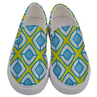 Blue Rhombus Pattern Men's Canvas Slip Ons