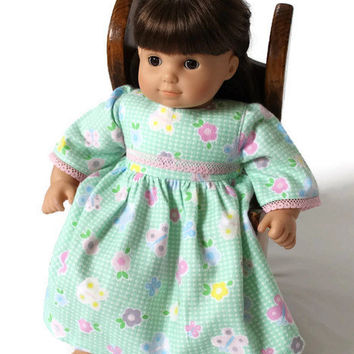 Flowered Doll Nightgown Flannel Nightie Pajamas Bitty Twin 14 to 16 in Baby Doll Green Gingham Pink Flowers--US Shipping Included