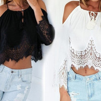 Lace Off Shoulder Blouse [6259291460]