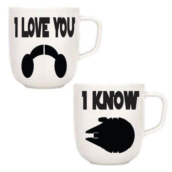 I love you i know star wars princess leia and han solo coffee mugs
