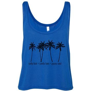 Salty Hair Sandy Toes Gypsy Soul Cropped Flowy Tank Top