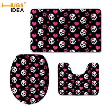 HUGSIDEA Cute Cartoon Mini Skull Printed Home Decor Toilet WC 3 PCS Set Soft Floor Carpets Non-slip Area Rugs for Bathroom Mats