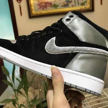 [Free Shipping ]Nike Air Jordan 1 Retro High Aleali May OG Shadow Grey Satin AJ1 Basketball Sneaker