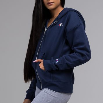 Champion Women's Reverse Weave Zip Up Hoodie in Pink Candy